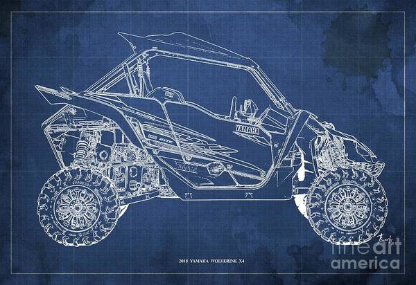 Wall Art - Digital Art - 2018 Yamaha Wolverine X4 Blueprint Blue Background Gift For Dad by Drawspots Illustrations