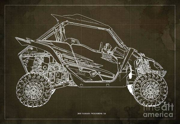 Wall Art - Digital Art - 2018 Yamaha Wolverine X4 Blueprint Brown Background Gift For Him by Drawspots Illustrations