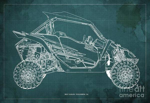 Wall Art - Digital Art - 2018 Yamaha Wolverine X4 Blueprint Green Background Fathers Day Gift by Drawspots Illustrations