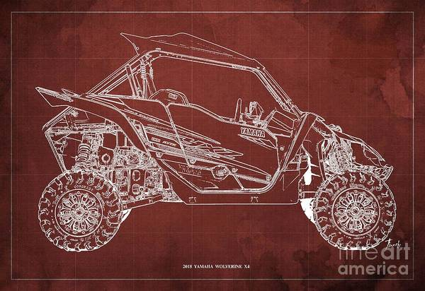 Wall Art - Digital Art - 2018 Yamaha Wolverine X4 Blueprint Red Background Gift For Him by Drawspots Illustrations