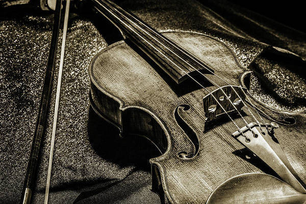 Photograph - 205 .1841 Violin By Jean Baptiste Vuillaume Bw by M K Miller