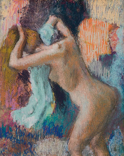 Beautiful Girl Drawing - After The Bath by Edgar Degas