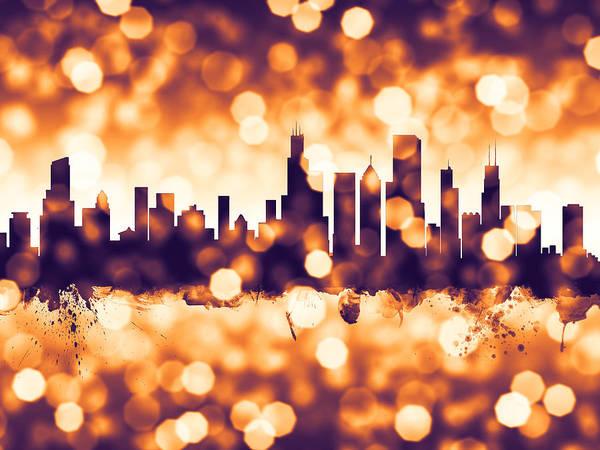Bokeh Digital Art - Chicago Illinois Skyline by Michael Tompsett