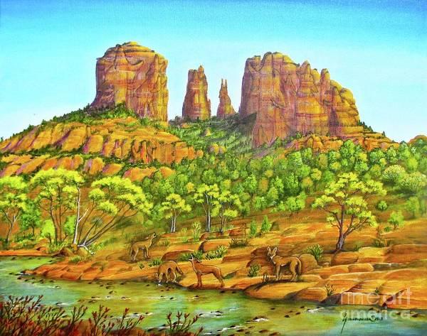 Oak Creek Canyon Painting - 21 Coyotes Of Sedona Arizona by Jerome Stumphauzer