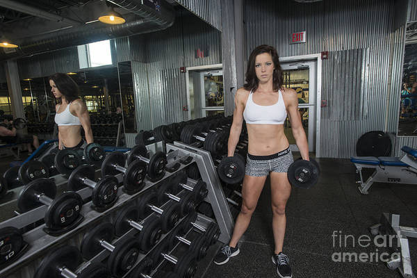 Photograph - Model Emily Working Out In Gym by Dan Friend