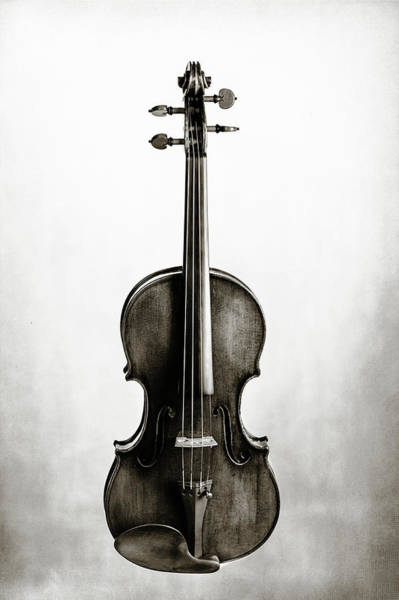 Photograph - 213 .1841 Violin By Jean Baptiste Vuillaume Bw by M K Miller