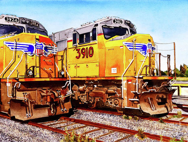 Diesel Trains Painting - #214 Trains 3910 And 3924 by William Lum