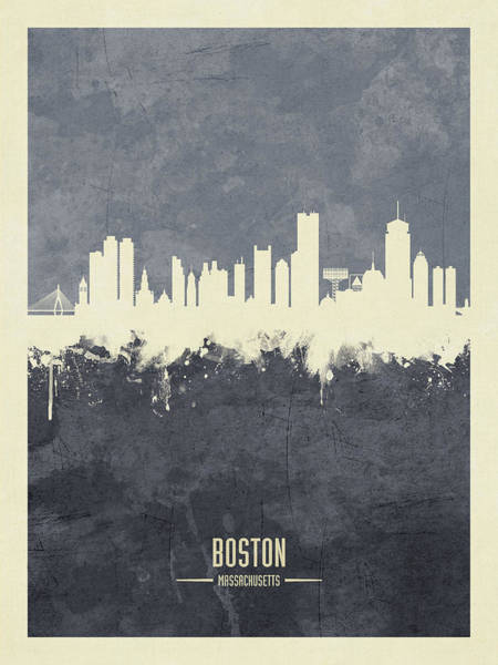 Wall Art - Digital Art - Boston Massachusetts Skyline by Michael Tompsett