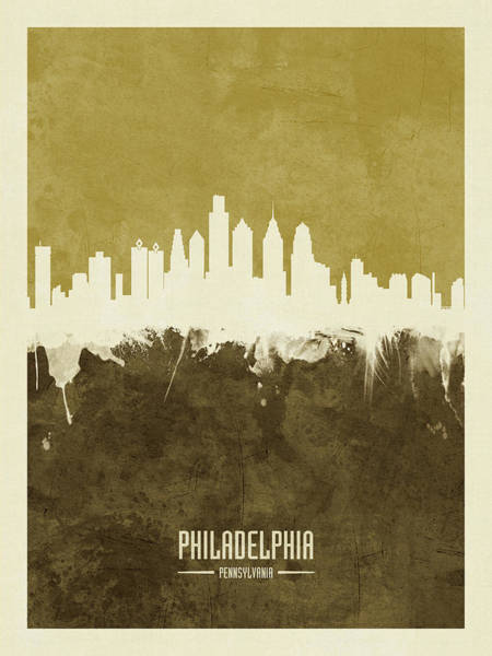 Philadelphia Cityscape Wall Art - Digital Art - Philadelphia Pennsylvania Skyline by Michael Tompsett