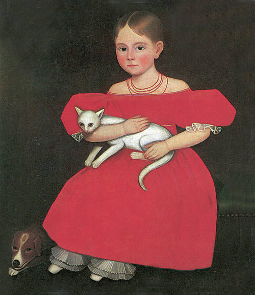Photograph - Girl In Red With Her Cat And Dog by Ammi Phillip
