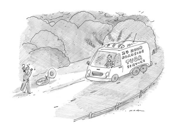 3 Drawing - 24 Hour Roadside Tuba Service by Michael Maslin