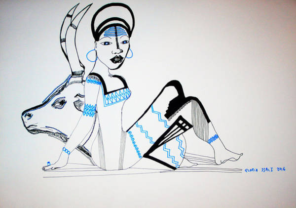 Drawing - Nuer Bride - South Sudan by Gloria Ssali