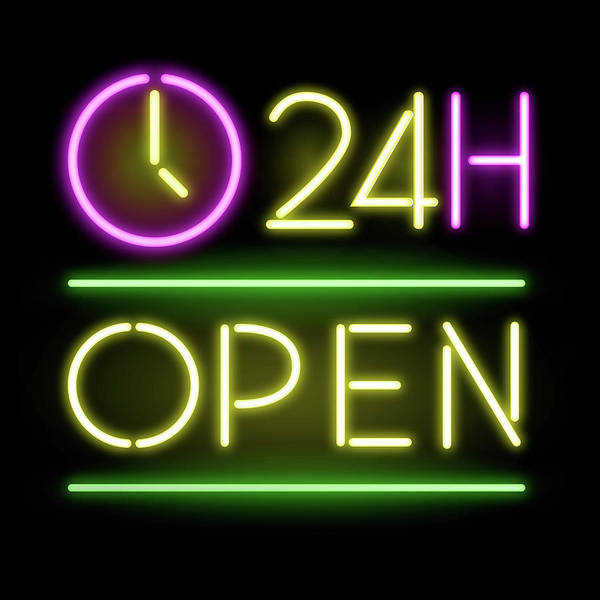 Neon Lights Mixed Media - 24h Open by Gina Dsgn