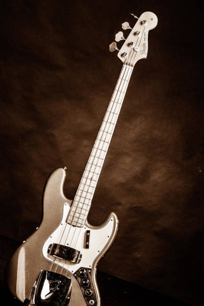 Photograph - 250.1834 Fender 1965 Jazz Bass Black And White by M K Miller