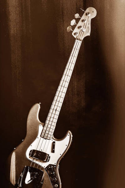 Photograph - 252.1834 Fender 1965 Jazz Bass Black And White by M K Miller