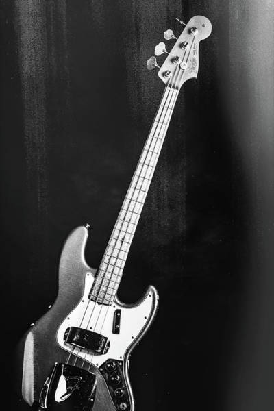 Photograph - 253.1834 Fender 1965 Jazz Bass Black And White by M K Miller