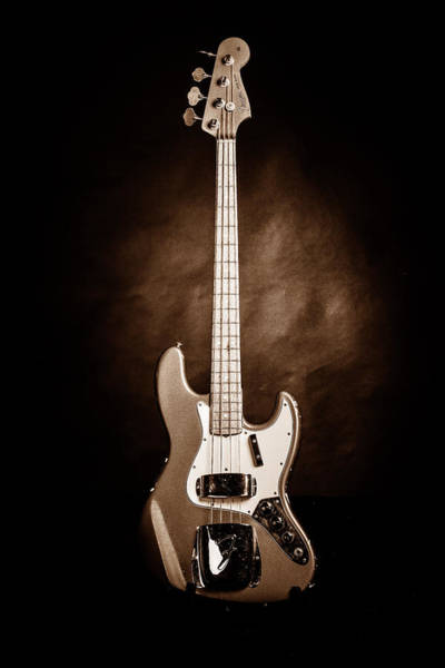 Photograph - 254.1834 Fender 1965 Jazz Bass Black And White by M K Miller