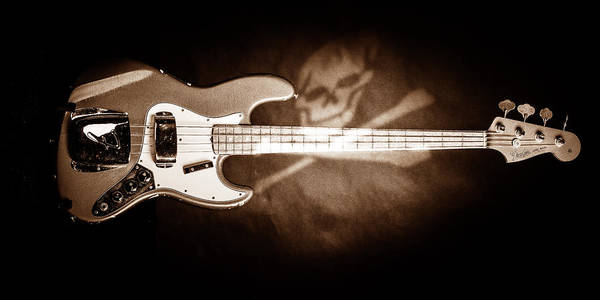 Photograph - 260.1834 Fender 1965 Jazz Bass Black And White by M K Miller