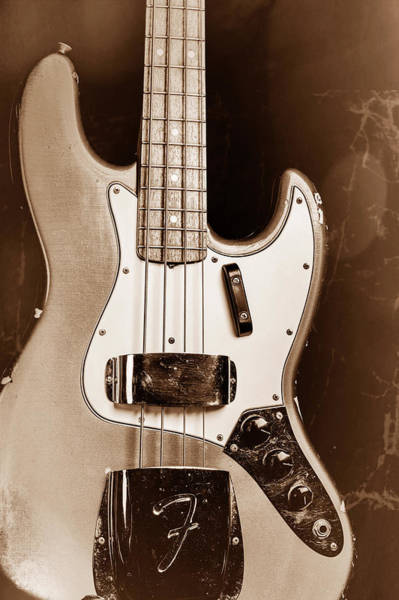 Photograph - 264.1834 Fender 1965 Jazz Bass Black And White by M K Miller