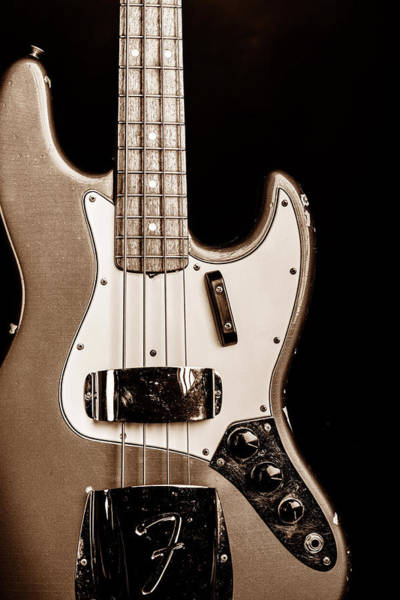 Photograph - 266.1834 Fender 1965 Jazz Bass Black And White by M K Miller