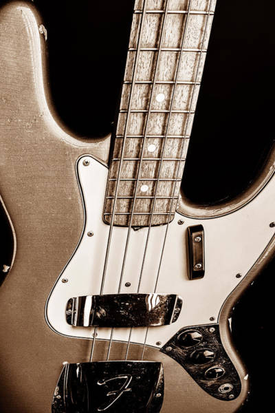 Photograph - 268.1834 Fender 1965 Jazz Bass Black And White by M K Miller