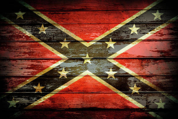 Wood Planks Photograph - Confederate Flag 2 by Les Cunliffe