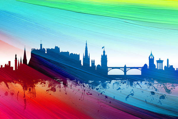 Wall Art - Digital Art - Edinburgh Scotland Skyline by Michael Tompsett