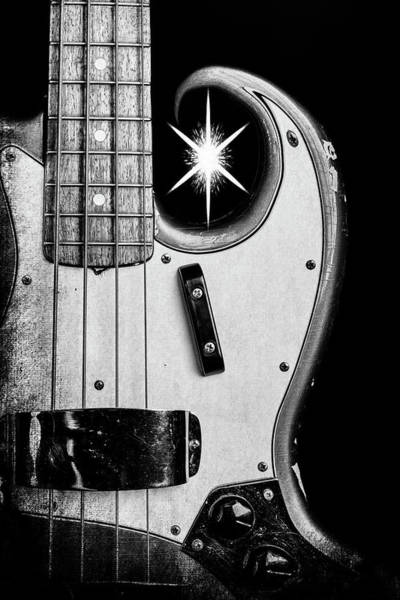 Photograph - 273.1834 Fender 1965 Jazz Bass Black And White by M K Miller