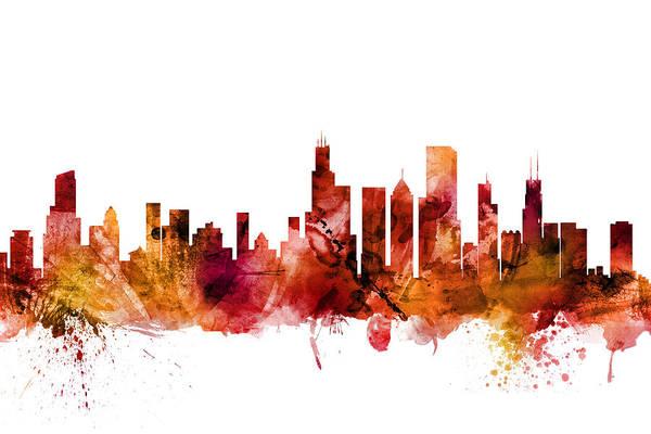 Chicago Skyline Digital Art - Chicago Illinois Skyline by Michael Tompsett