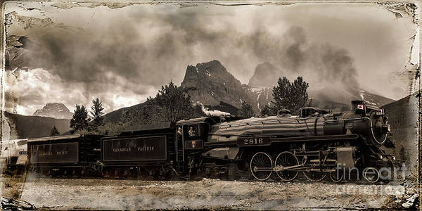 Canadian National Railway Photograph - 2816 Empress At Three Sisters - Canmore by Brad Allen Fine Art