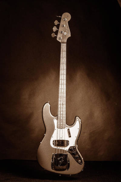 Photograph - 282.1834 Fender 1965 Jazz Bass Black And White by M K Miller