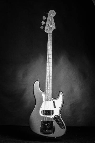 Photograph - 283.1834 Fender 1965 Jazz Bass Black And White by M K Miller
