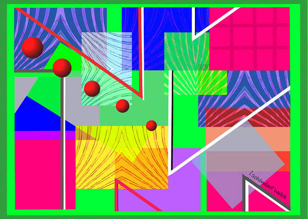 Wall Art - Digital Art - 2846 Simple Abstract Colourful 2018 by Irmgard Schoendorf Welch