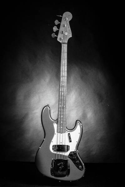 Photograph - 285.1834 Fender 1965 Jazz Bass Black And White by M K Miller