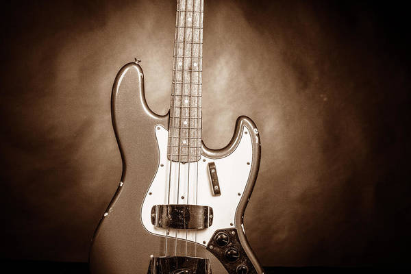 Photograph - 288.1834 Fender 1965 Jazz Bass Black And White by M K Miller