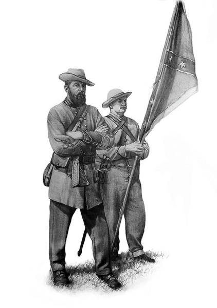 Confederate Soldier Drawing - 28th Georgia  Company I by Jeff Trexler