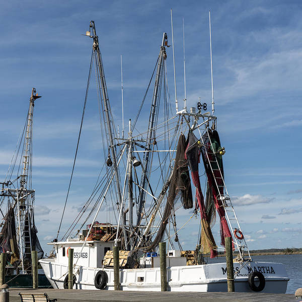 Square Aspect Wall Art - Photograph - 291593140-086p Fishing Boat At Wharf 1x1 by Alan Tonnesen