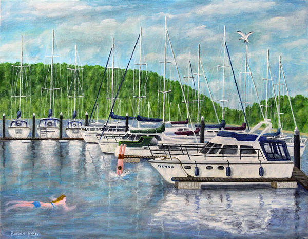 Windermere Painting - Lake Windermere Marina - Lake District by Ronald Haber