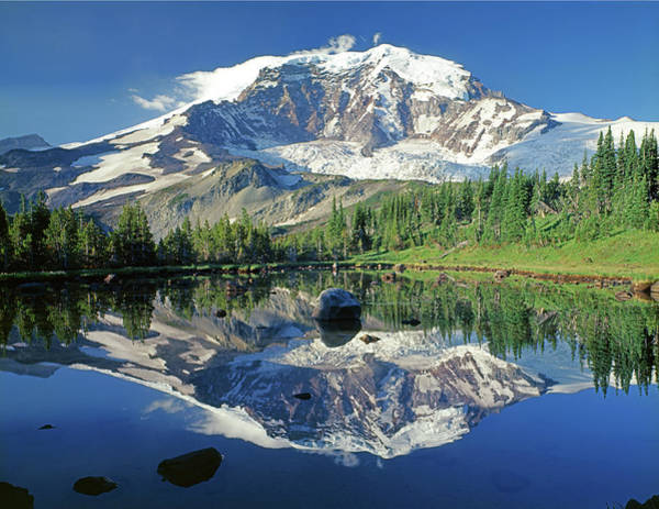 Photograph - 2m4859h Mt. Rainier Reflect by Ed Cooper Photography
