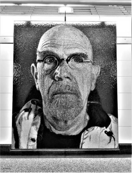 Photograph - 2nd Ave Subway Art Chuck Close B W 1 by Rob Hans