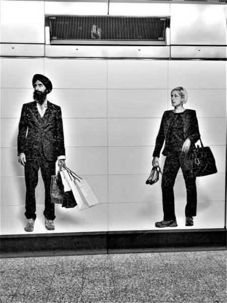 Photograph - 2nd Ave Subway Art Perfect Strangers15 B W by Rob Hans