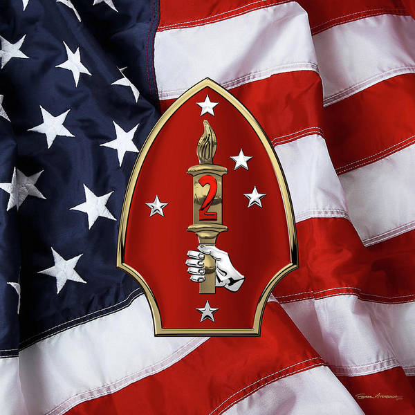 Digital Art - 2nd Marine Division -  2nd  M A R D I V  Insignia Over American Flag by Serge Averbukh