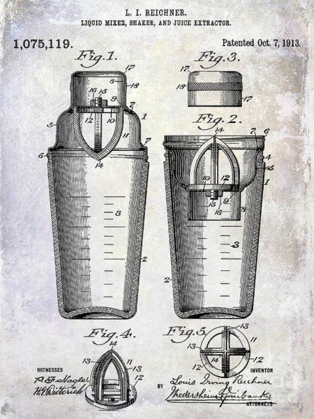 Cocktail Shaker Photograph - 1913 Cocktail Shaker Patent by Jon Neidert