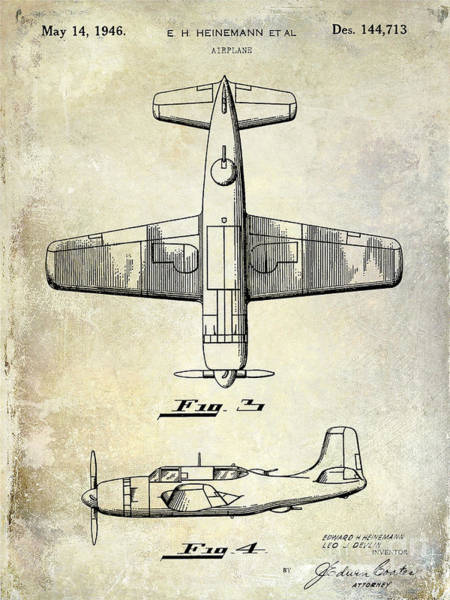 Cargo Plane Wall Art - Photograph - 1946 Airplane Patent by Jon Neidert