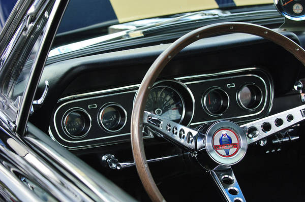 Ford Mustang Photograph - 1966 Ford Mustang Cobra Steering Wheel by Jill Reger