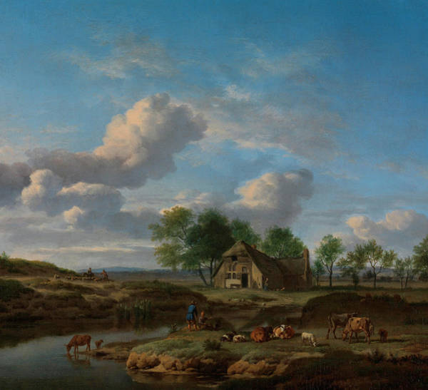 Waterway Painting - A Landscape With A Farm By A Stream by Adriaen van de Velde