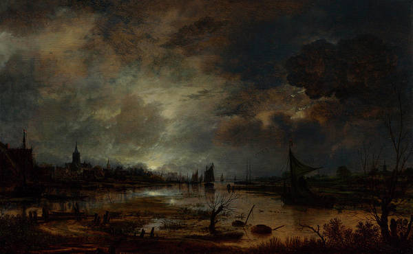Waterway Painting - A River Near A Town, By Moonlight by Aert van der Neer