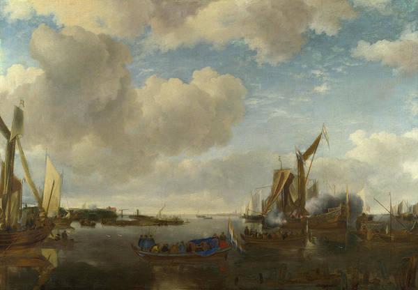 Ocean Scape Painting - A River Scene With A Dutch Yacht Firing A Salute by Jan van de Cappelle