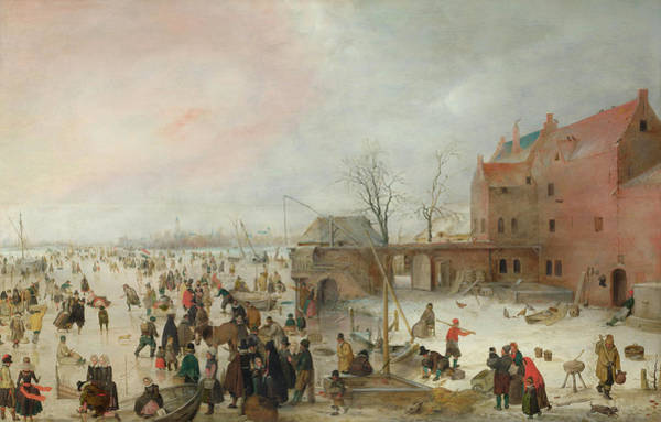 Skate Painting - A Scene On The Ice Near A Town by Hendrick Avercamp