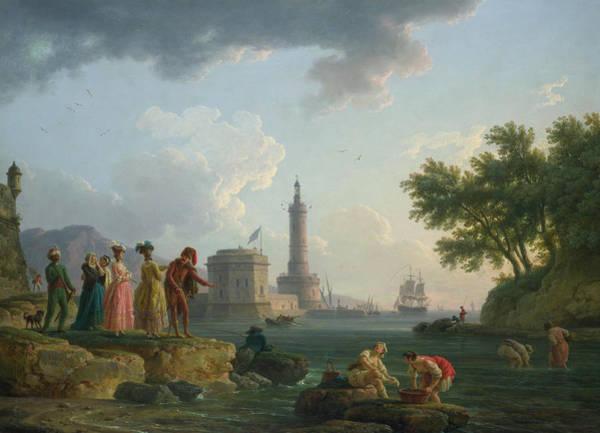 Nobility Painting - A Sea-shore by Claude-Joseph Vernet